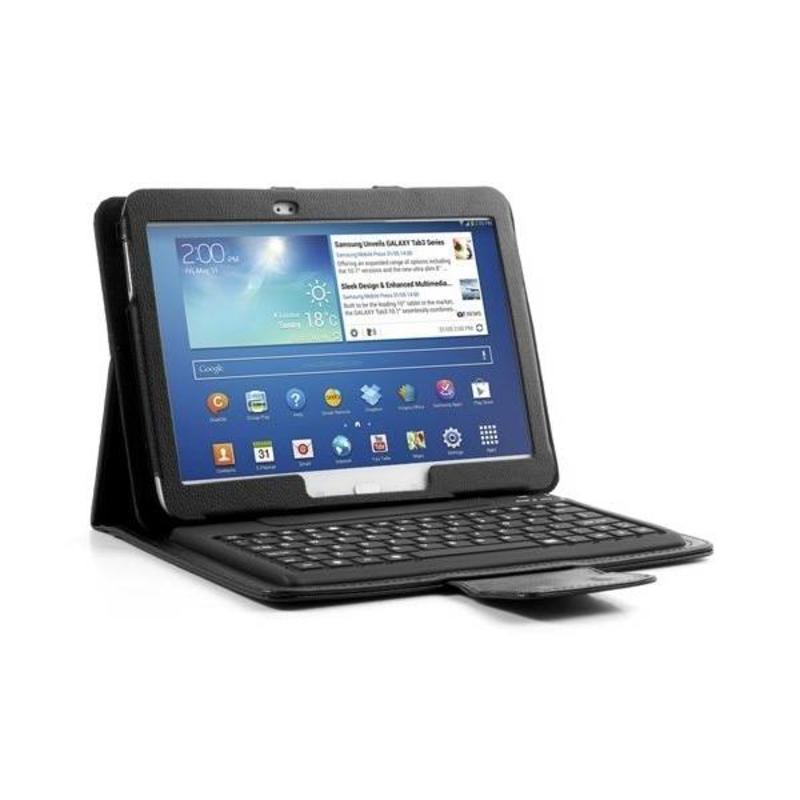 J&S Supply Bluetooth Toetsenbord in Lederen Look Case voor Samsung Galaxy Tab 3 10.1 Inch Zwart of Wit