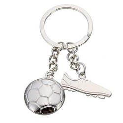 J&S Supply Sleutelhanger Voetbal World Cup Zilverkleurig