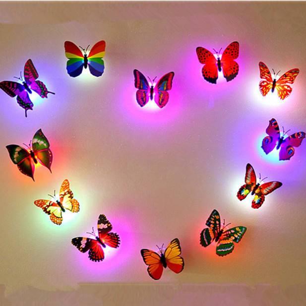 Nachtlampje LED Vlinder 3D Kleurveranderen 6Stuks