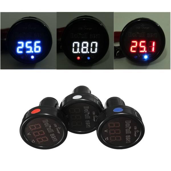 3in1 LED Thermometer Voltmeter en USB Lader
