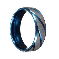 JS Blauw Zilveren Ring Voor Mannen