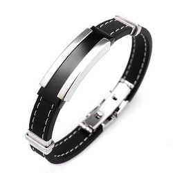 J&S Supply Zwartzilveren Armband Voor Mannen