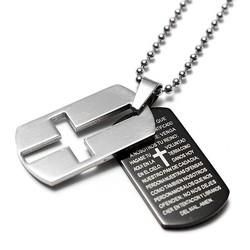 JS Ketting met Kruis en Bijbeltekst van Roestvrij Staal