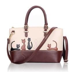 J&S Supply Bruin-Witte Dames Handtassen met Kat of Konijn Patroon