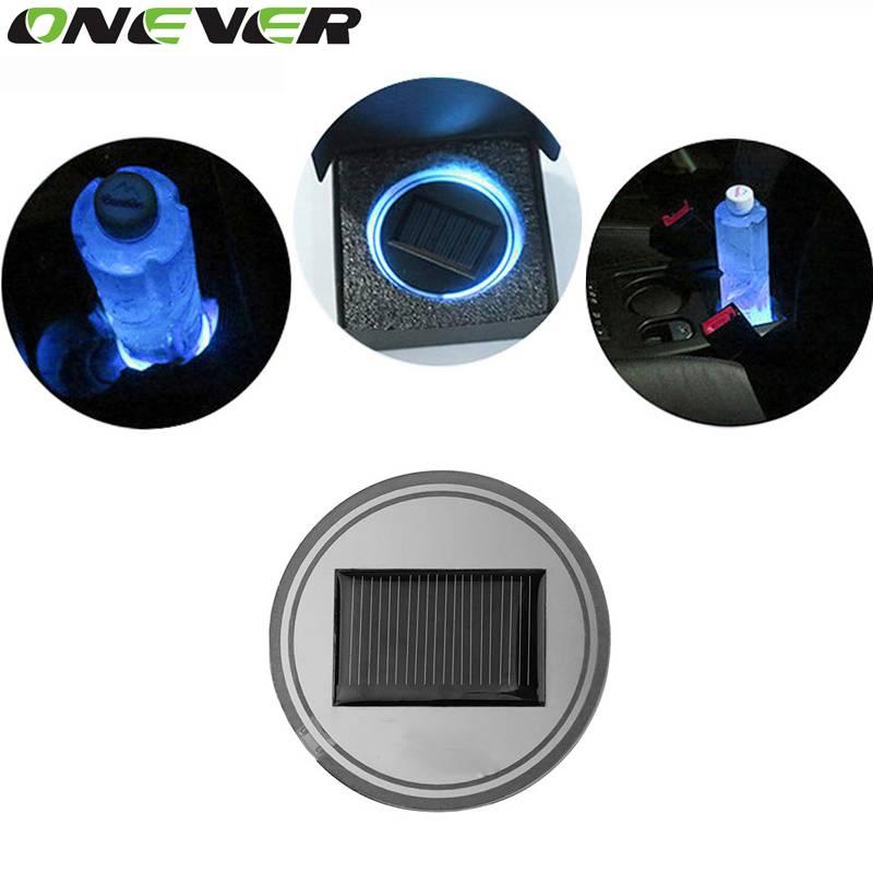 Universele Auto Styling Zonne-energie Energie Blauw LED Auto-interieur Decoratie Licht Cup Coaster M