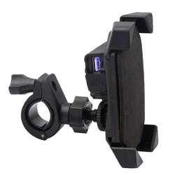 MyXL Motorcycle Fietsstuur Mobiele Telefoon GPS Mount Houder Intrekbare Grip Telefoon Houder motorfiets USB Charger voor iphone Samsung