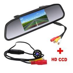 MyXL Podofo 4.3 inch Auto Achteruitkijkspiegel Monitor Achteruitrijcamera CCD Video Auto Parkeerhulp 8 LED Nachtzicht Omkeren