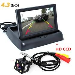 MyXL Opvouwbare 4.3 Inch TFT LCD Mini Car Achteruitkijkspiegel Monitor Voertuig omkeren Parking System + Auto Nachtzicht Achteruitrijcamera Backup Camera