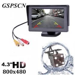 MyXL GSPSCN Auto HD Video Auto Parking Monitor, LED Nachtzicht Auto Achteruitrijcamera Waterdichte Camera Met 4.3 inch HD Display Car Monitor