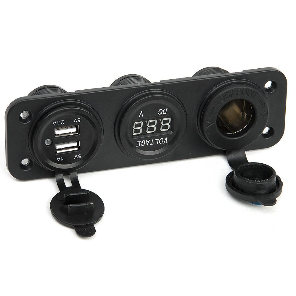 Dc 12 v-24 v usb socket splitter 3 in 1 auto-boot-telefoon oplader digitale voltmeter painel digital