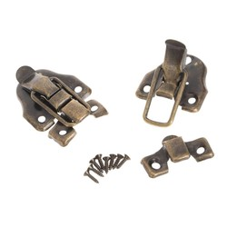 MyXL 4 stks meubels hardware iron toggle klink kleine houten doos hasp klink sieraden doos hangslot geschenkdoos antieke koperen lade gesp