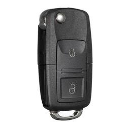 MyXL 2 Knop Vouwen Afstandsbediening Sleutelhanger Case Shell voor VW/GOLF MK4/Jetta/SEAT/SKODA Transporterzwart ABS Plastic