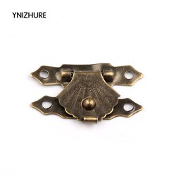 MyXL 50 stks 30*18mm houten bloem box sluiting generieke moderne metalen hasp en nieten Kleine houten kist gesp driehoekige
