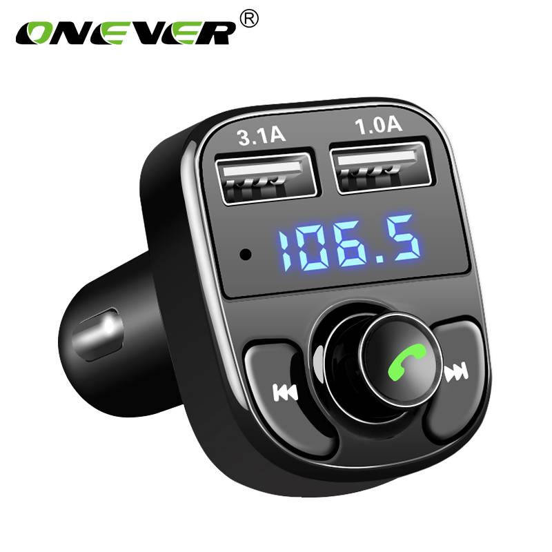 Onever Fm-zender Aux Modulator Bluetooth Handsfree Carkit Auto Audio Mp3-speler met 3.1A Quick Charg