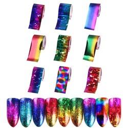MyXL Gradiënt Sterrenhemel Nail Folie Papier 9 Vellen 2.5*20 cm Nail Art Transfer Sticker Manicure Nail Art Sticker decoraties Set