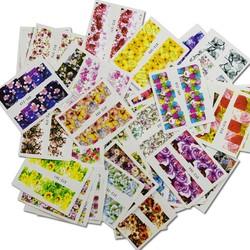 MyXL 48 stks Gemengde Kleurrijke Mode Water Transfer Decals Nail Art DIY Volledige Cover Ontwerpen Vrouwen Nail Sticker Nail Art TRSTZ352-391