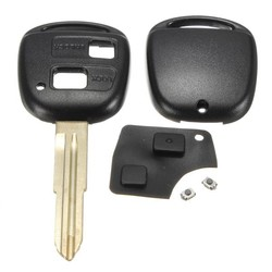 MyXL 2 Knoppen Lock en Unlock Afstandsbediening Sleutelhanger Shell Rubber Pad Switch Blade Sleutel Case Black Reparatie Vervanging Cover Toyota Yaris