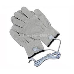 MyXL 1 Paar Geleidende Vezel Elektrode Handschoenen Massage TIENTALLEN Handschoenen Met Jack 2.5mm Elektrode Lood Draad Voor TIENTALLEN/EMS Machines