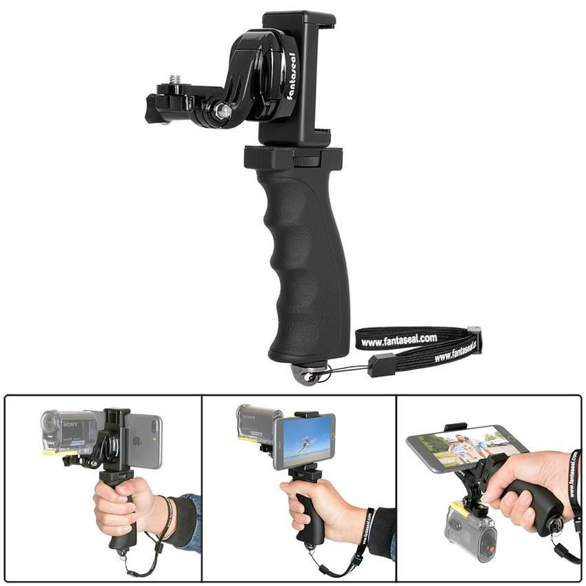 Fantaseal Action Camera Handgreep Mount + mobiele telefoon Clip voor Sony AS200V AS300R FD-X3000R Ke