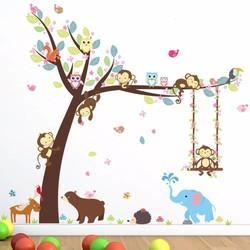 MyXL Bos Dieren Tree muurstickers voor kinderkamer Aap Beer Jungle wilde Kinderen Muurtattoo Nursery Slaapkamer Decor Poster Muurschildering