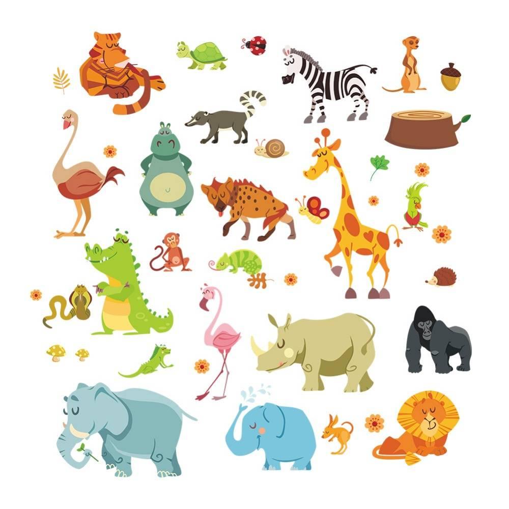 Jungle wilde dieren DIYwall sticker voor kids baby kinderkamer cartoon muurstickers woondecoratie 12