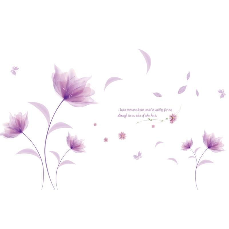 Romantische Paars bloemen DIY Muursticker liefde woonkamer ...