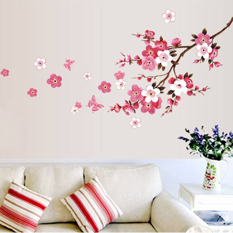 mooie sakura muurstickers living slaapkamer decoraties 739. diy bloemen pvc thuis decals muurschilde