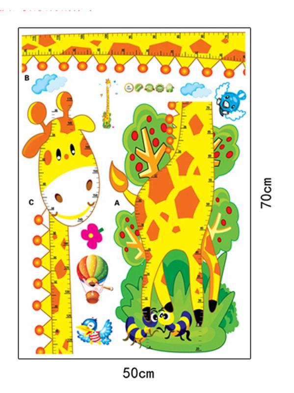 Zs Sticker Giraffe Afstandsmeter Muursticker Kinderen Home Decor Cartoon Muurtattoo voor Kinderkamer