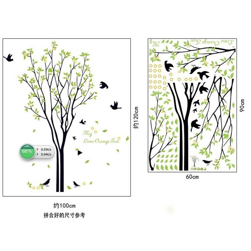 120*100 cm Grote Groene boom vogels muurstickers voor Woonkamer Slaapkamer 9094 TV Muurstickers Muur