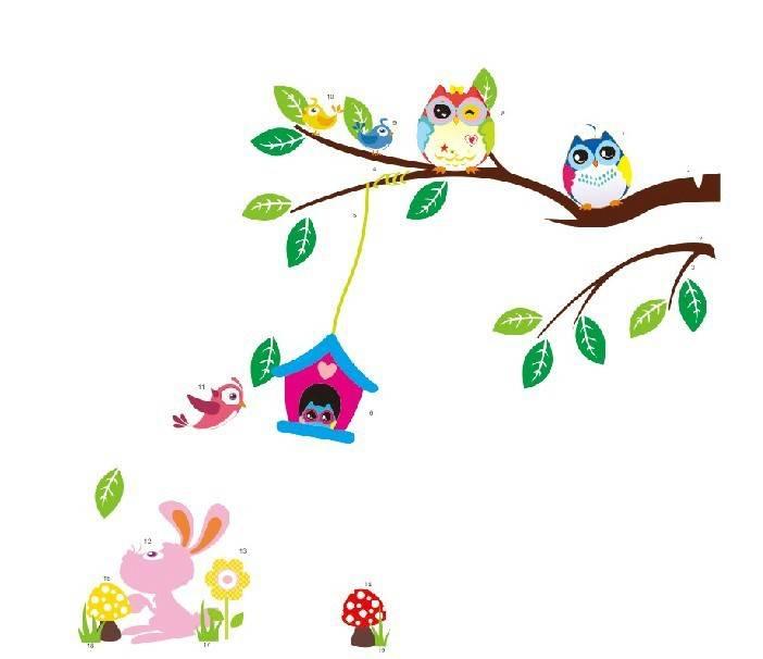Cartoon uilen vogel tak bloemen muurstickers voor kinderkamer woonkamer nursery 3D interieur vinyl p