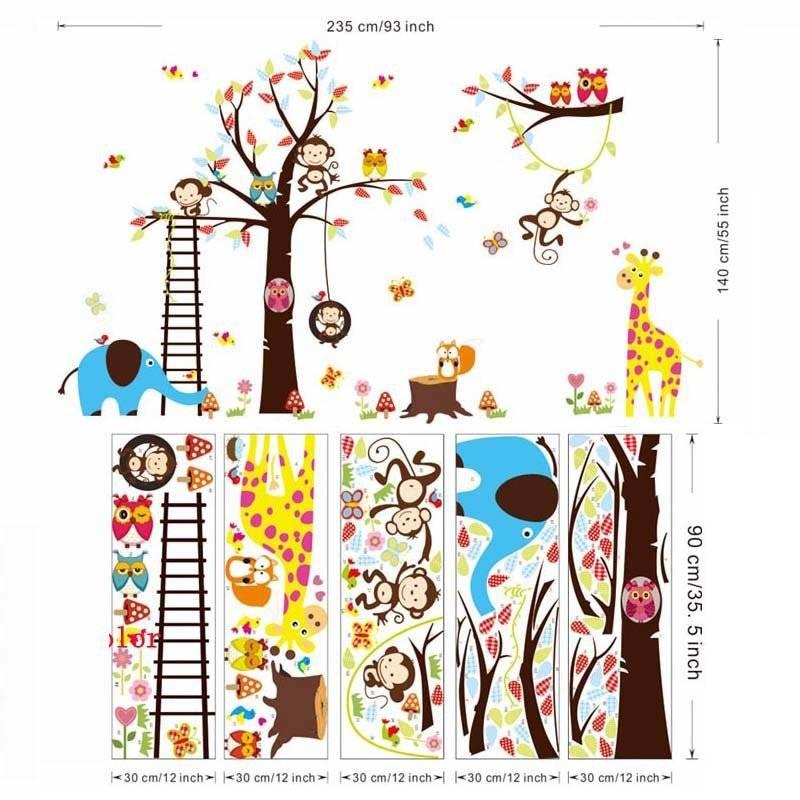 Grote boom dier muurstickers voor kinderkamer decoratie 1213. aap uil dierentuin cartoon diy kindere