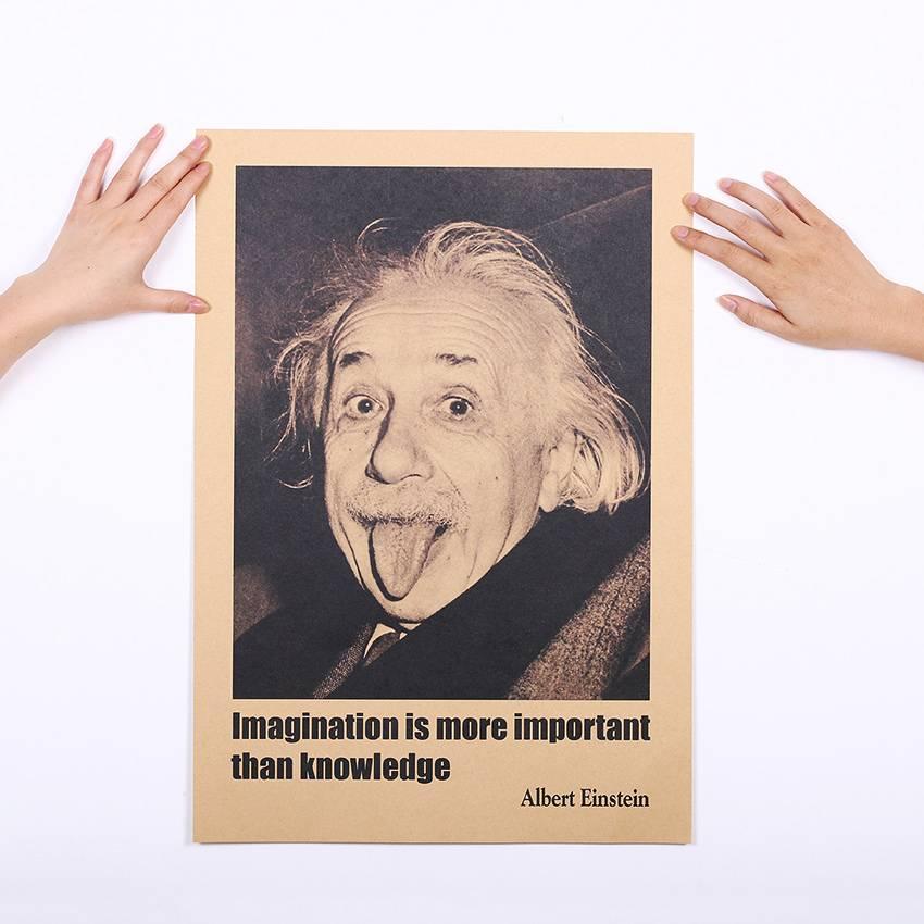 TIE LER Albert Einstein Poster Vintage Retro Papier Muurstickers Verbeelding Is Belangrijker Dan Ken