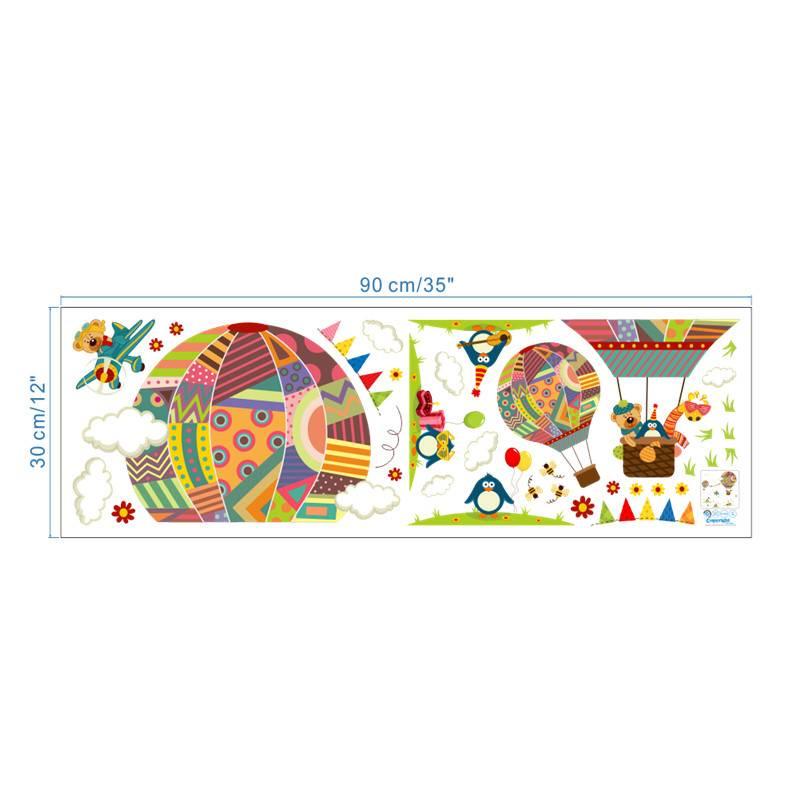 Kleurrijke Luchtballon Dier Kinderkamer muursticker Beer Giraffe kinderkamer cartoon klaslokaal Muur