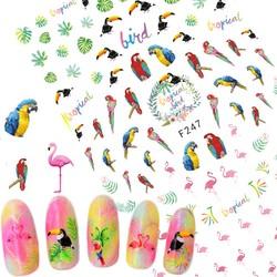 MyXL 1 Vellen Tropische Flamingo Specht Sticker Nail Art3D ontwerpen voor Nagellak Gel Manicure Tips Nail Folies Nail Decals TRF247