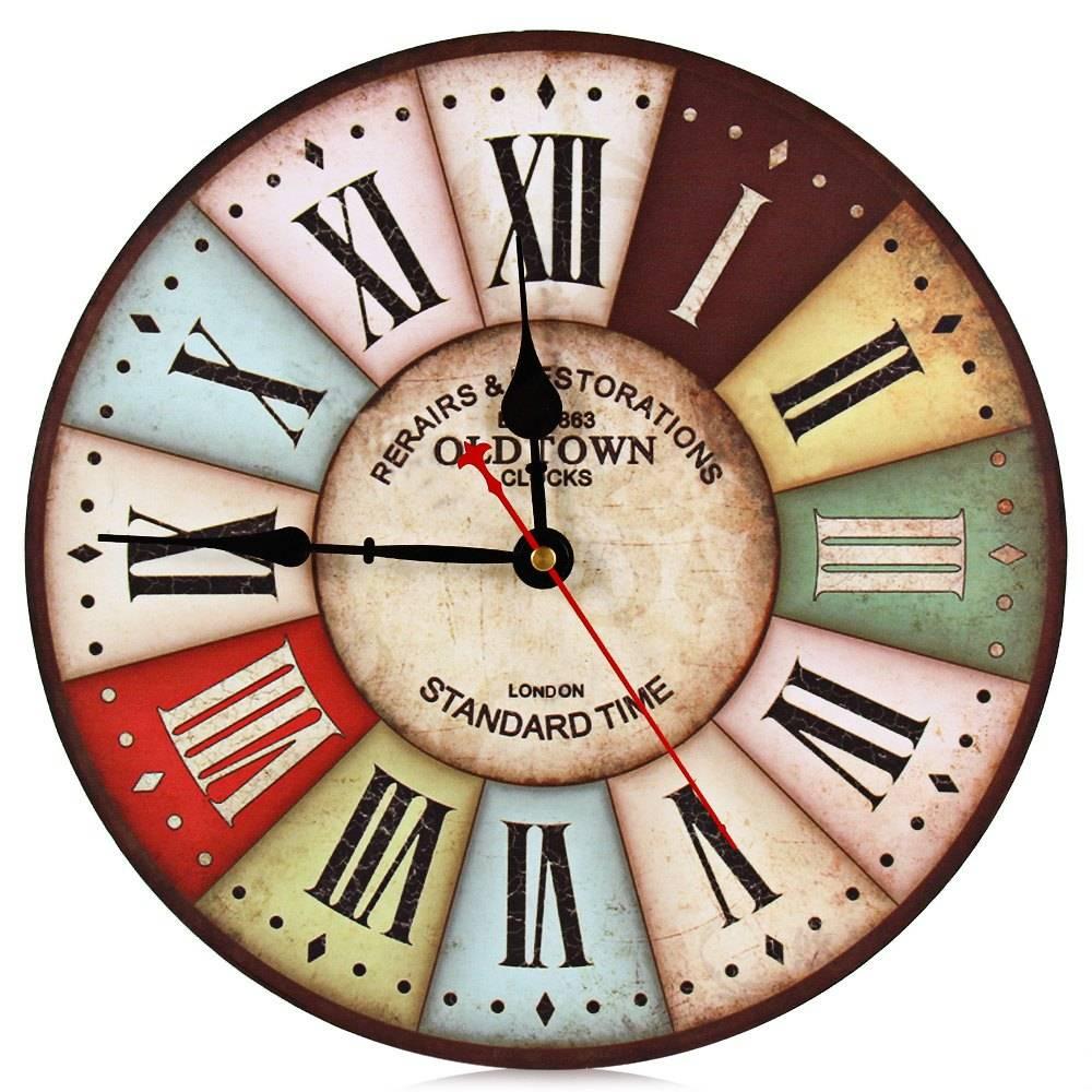Vintage Wandklok Kleurrijke Londen Stijl Hout Klokken Relogios Woondecoratie Muur Horloge 1596868