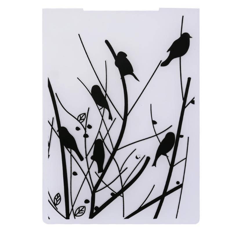 Vogels in Takken Plastic Embossing Map voor Scrapbooking DIY Stempel-fotoalbum Decoratieve Stempel v