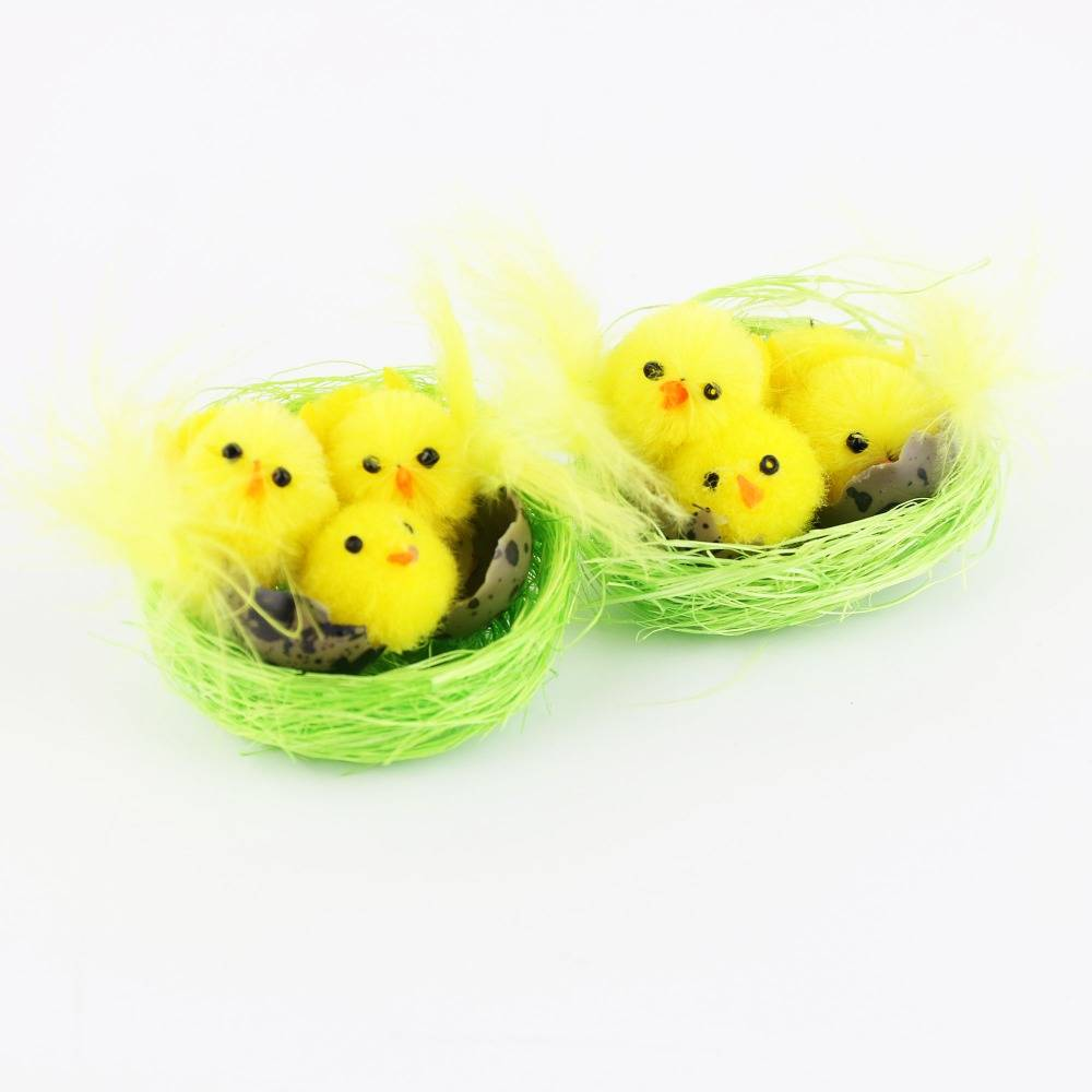 Collectie6 stks-pak Pluizige Geel Kleine Pasen Chenille Kuikens in Nest Pasen Decoratie