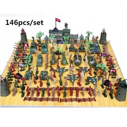 MyXL WWII speelgoed soldaat militaire manplastic Militaire pak 146 stks/set van modelvliegtuigen en tanks scene