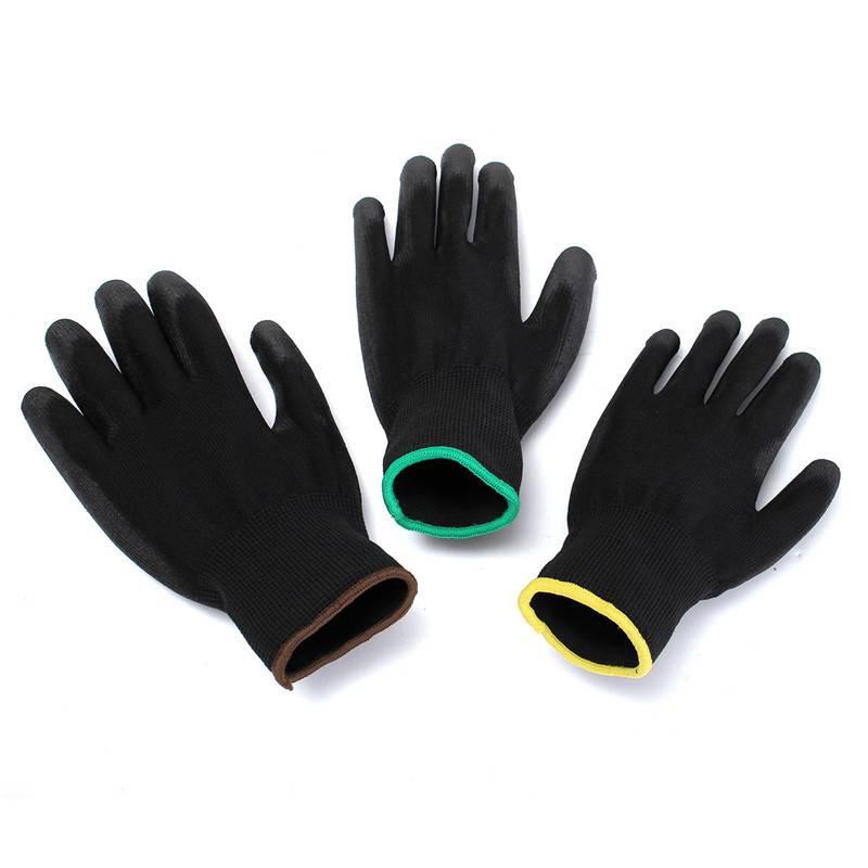 Collectie 12 Pairs Zwart Nylon PU Veiligheid Werk Handschoenen Bouwers Grip Voor Palm Coating Handsc