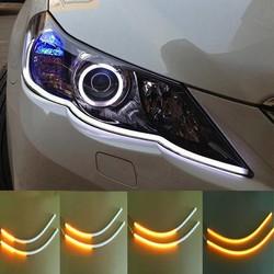 MyXL 2 stks 60 cm Auto Flexibele Strip LED Amber Sequentiële Flasher Vloeiende Switchback Richtingaanwijzer Angel Eye DRL Lamp koplampen <br />  AUXITO