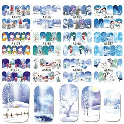 MyXL 12 Ontwerpen in 1 set Winter Sneeuwvlok Volledige Wraps Nail Art Water Transfer Stickers Kerst Stijl Manicure Decal DIY BEA1177-1188 <br />  Ur Beautiful