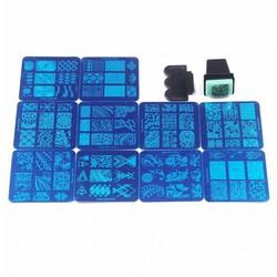 MyXL 10 Stks Verschillende Desgin NaiL Art Stempel Stempelen Platen Met 1 Stks Gratis Stamper DIY Afbeelding Manicure Gereedschap Set # WJ016 <br />  MyXL
