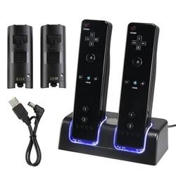 MyXL Top Koop Gebruik Blauw LED licht Afstandsbediening Dual Opladen Dock Station 2x2800 mAh Batterij Met voor Wii beste <br />  ShirLin
