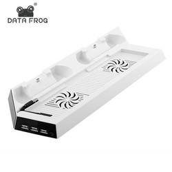 MyXL Wit Charging Dock Stand Dual Koelventilator voor PS4 Koeling Station Verticale Stand met 3 Controller Opladen Dock <br />  DATA FROG