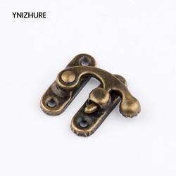 MyXL real hardware lock hout box50 sets metalen haak Doos Vergrendelingen Sluiting Lock Purse Antiek Brons 4 Gaten 27*34mm <br />  YNIZHURE