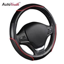 MyXL Auto Stuurhoes Sportief Wave Patroon met Rode Lijn Stiksels M size Fits 38 cm/15 &quot;Diameter Auto Accessoires <br />  AUTOYOUTH