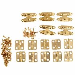 MyXL 5 Stks Antieke Gouden Sieraden Houten Box Case Toggle Hasp Klink + 10 Stks Kabinet Scharnieren Ijzer Vintage Hardware Meubels accessoires <br />  DRELD