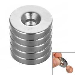 MyXL 25*5mm Ronde Magneet NdFeB met Gat-Zilver (5 Stks/pak)