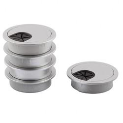 MyXL UXCELL Kleur Plastic Pc Computer Bureau Kabel Grommets Draad Gat Cover Silver Tone 50 Mm Dia 5 Stks zilver | tone