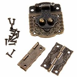 MyXL 2 Stks Chinese Messing Hardware Vintage Brons Houten Box Kast Toggle Klink Hasp + Antiek Brons Doos Scharnieren Meubels Accessoires